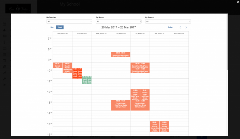 MySchool Admin Web User   Dashboard - Calendar View