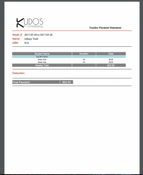 MySchool Admin Web User   Dashboard Teacher Payslip in PDF